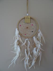 Attrape-rêves rond tissu et plumes
