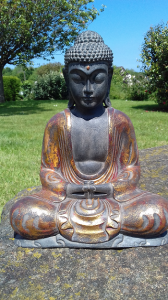Statuette Bouddha résine doré rouge