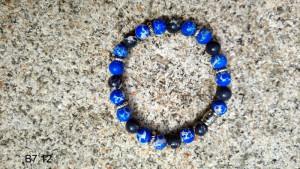 Bracelet pierre lapis lazuli et obsidienne