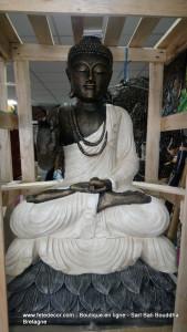 Bouddha enseignement H100 cm blanc antique