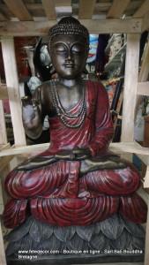 Bouddha enseignement assis fleur lotus H100 cm