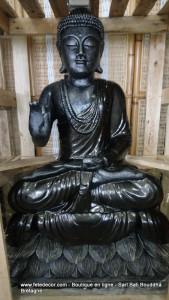Bouddha noir laqué H100 cm assis lotus