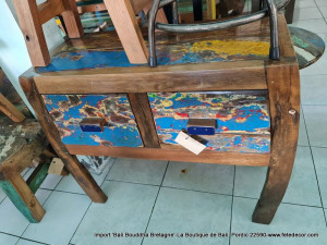 Console chinoise bois teck bleu dominant