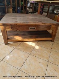 Table basse avec tiroir teck