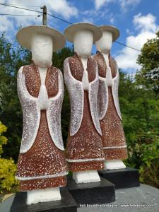 Trio statues chinois 60cm
