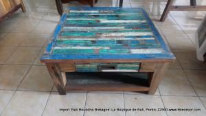 Table basse bleu avec tiroir L80x80cm