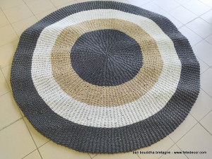 Tapis rond rotin synthétique