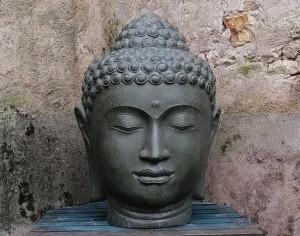 Tête Bouddha vert kaki H100 cm (Janvier 2022)