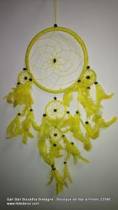 Attrapes rêves jaune plumes jaunes
