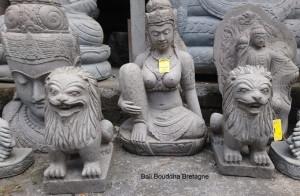 Couple Lion sculpture en pierre