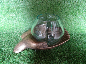 Vase en verre support main