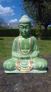 Statuette Bouddha vert doré 30 cm