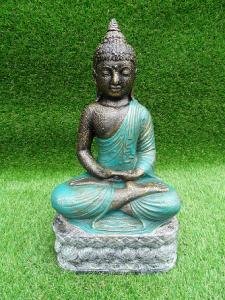 Bouddha vert assis en lotus