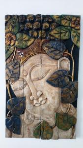 Panneau 4 volets en bois portrait Bouddha