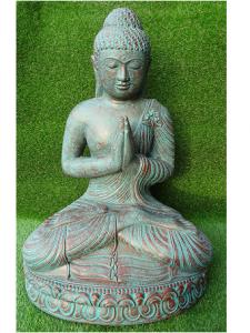 Bouddha prière vert-bronze 85 cm