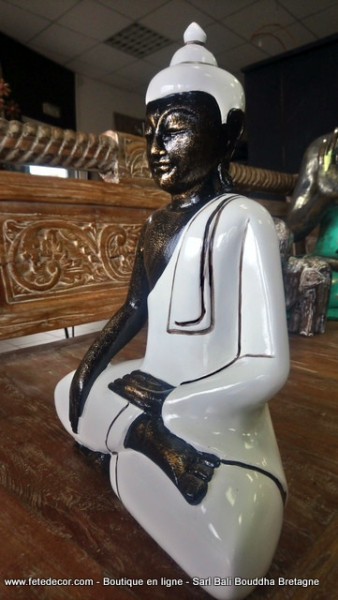 Bouddha blanc laqué