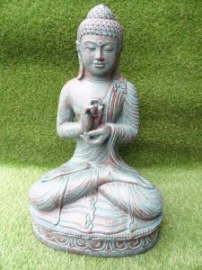 Bouddha méditation vert bronze 60 cm