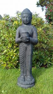 Statue noir Bouddha debout bol à offrande