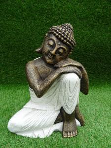 Statuette blanche doré Bouddha penseur