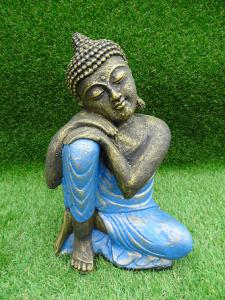 Bouddha penseur robe bleuté 30 cm