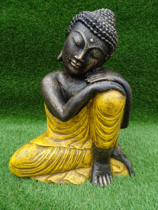 Bouddha penseur tunique jaune