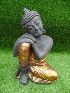 Bouddha penseur robe rouge doré 30 cm