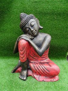Bouddha penseur tunique rouge H60cm