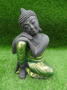 Bouddha penseur robe vert doré 30 cm