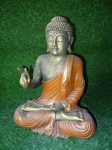 Statue Bouddha tunique rouge doré