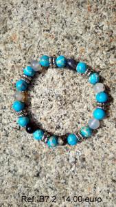 Bracelet pierre turquoise, grise, motifs argenté