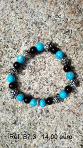 Bracelet pierre turquoise, noir, grise et motifs