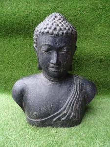 Bouddha large buste ciment noir