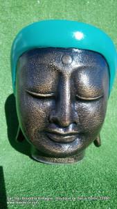 Cache-pot vert tête Bouddha