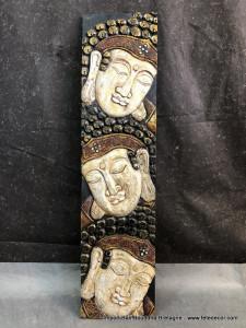 Panneau bois visages bouddha