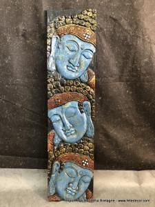 Panneau bois Bouddha visage bleu