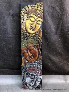 Cadre bois visage bouddha H100 cm