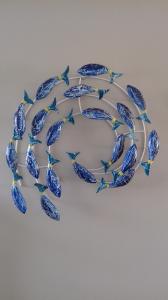 Déco murale banc de poissons bleu