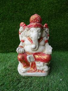 Ganesh blanc et doré 20 cm
