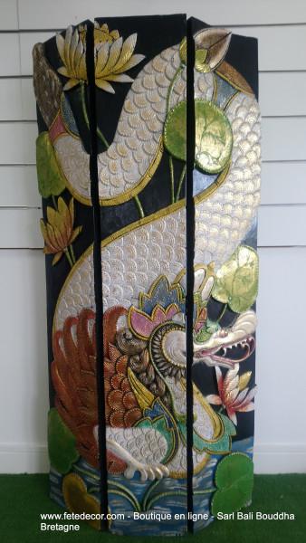 Grand dragon sculpture bois 160x75 cm