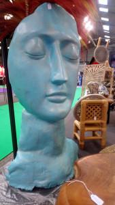 Visage bleu doré H130 cm