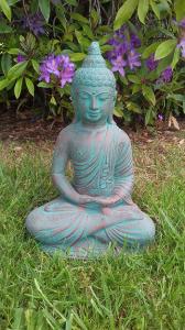 Statuette ciment Bouddha assis méditation