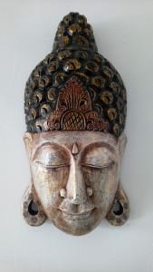 Masque bois blanc de Bouddha H50 cm