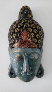 Masque bleu en bois de Bouddha H50 cm