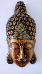 Masque bois Bouddha doré 50 cm