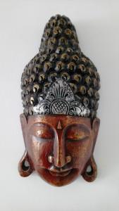 Masque Bouddha bois déco murale