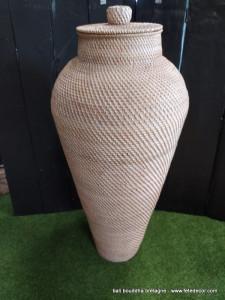 Amphore beige fibres végétales 90cm