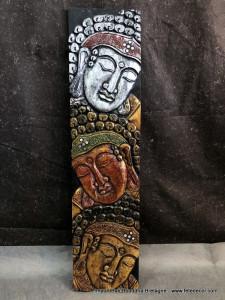 Panneaux bois 3 visages bouddha