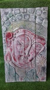 Cadre en bois portrait de Bouddha