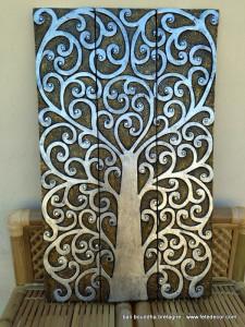 Tableau sur bois arbre de vie argenté