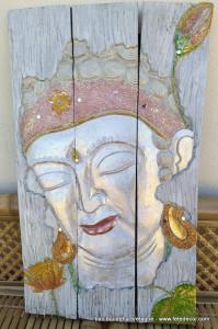 Peinture sur bois bouddha blanc argenté
